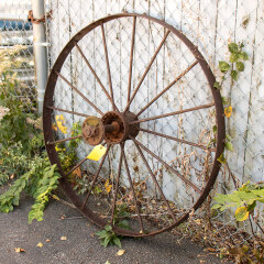 #13020 - Large Antique Metal Tractor Wheel image