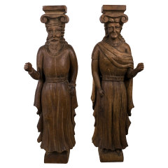 #33049 - Carved Wood Figural Statues image