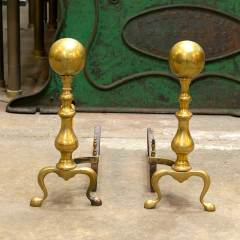 #38547 - Pair of Vintage Brass Fireplace Andirons image