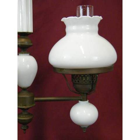#11363 Brass and Milk Glass Chandelier image 4