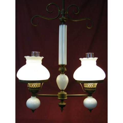 #11363 Brass and Milk Glass Chandelier image 5
