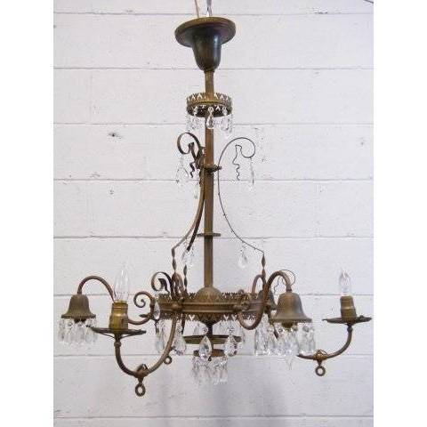 #12448 Antique Brass 6-Arm Chandelier image 1