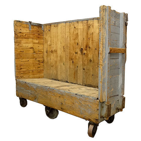 #18013 Industrial Wood Factory Cart image 1