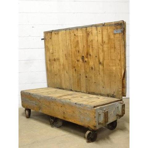 #18013 Industrial Wood Factory Cart image 4