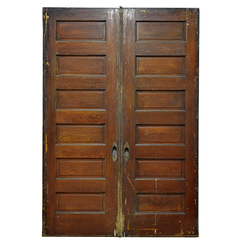 #23795 Salvaged Oak Pocket Doors image 1