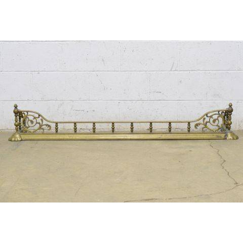 #24859 Antique Brass Fireplace Fender image 1