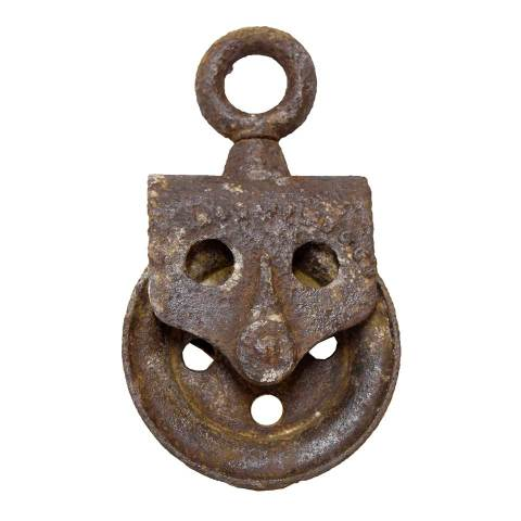 #26453 Antique Metal Pulley image 1