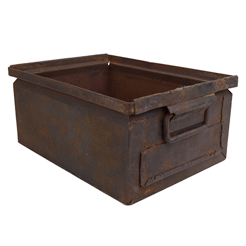 #27638 Vintage Industrial Metal Container image 1