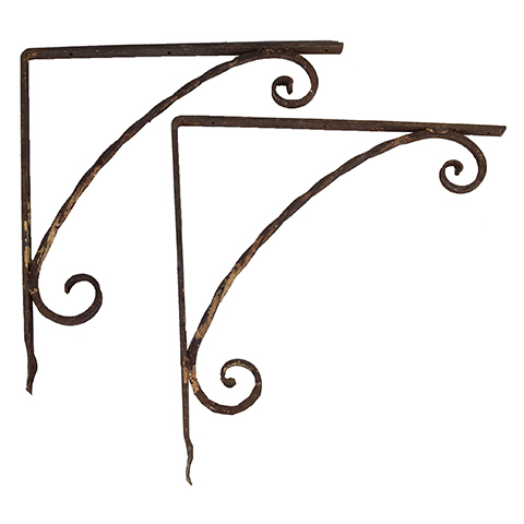#27745 Salvaged Wrought Iron Brackets image 1