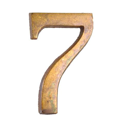 "#28303 Salvaged Brass Number ""7"" image 1"