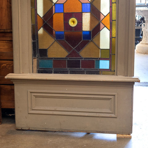 #38101 Salvaged Stained Glass Stair Landing Window image 6