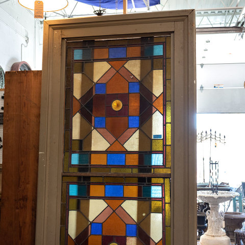 #38101 Salvaged Stained Glass Stair Landing Window image 3