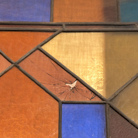 #38101 Salvaged Stained Glass Stair Landing Window image 5