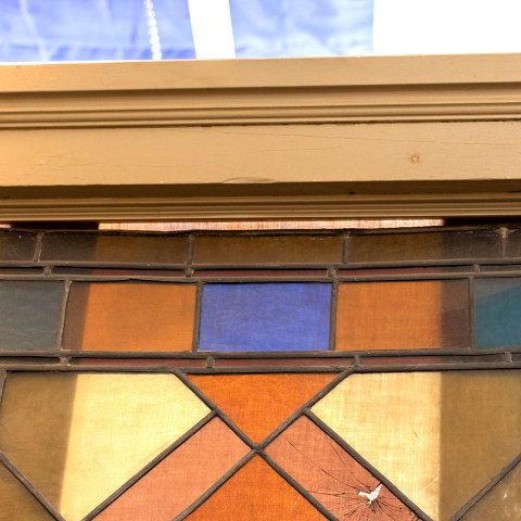 #38101 Salvaged Stained Glass Stair Landing Window image 4