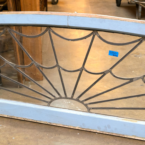 #38397 Salvaged Leaded Glass Fanlight Transom image 4