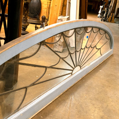 #38397 Salvaged Leaded Glass Fanlight Transom image 7