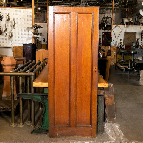 #38468 28x74 Salvaged 2 Panel Oak Door image 1