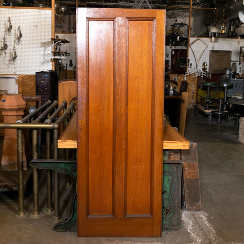#38509 28x74 Salvaged 2 Panel Oak Door image 1