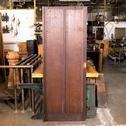 #38509 28x74 Salvaged 2 Panel Oak Door image 6