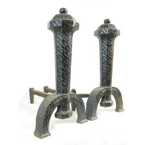 #8716 Pair of Arts & Crafts Fireplace Andirons image 2