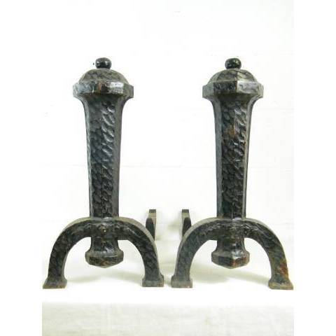 #8716 Pair of Arts & Crafts Fireplace Andirons image 1